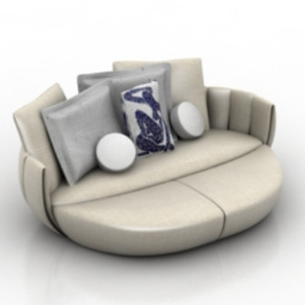 Retro Round Style Sofa 3d Max Model Free