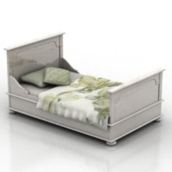 White Single Bed 3d Max Model Free