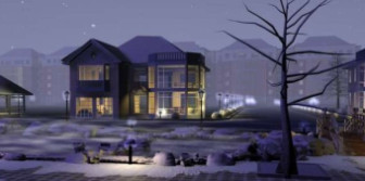 Modern Villa Winter 3dsMax Scene