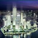 المبنى المعماري الحديث في الليل