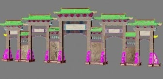 Chinese Ancient Architecture Door 3dsMax Model Free