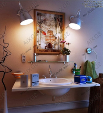 Pastoral Sink Bathroom Scene 3d Max Model Free