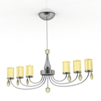 Yellow Luxury Chandelier 3d Max Model Free