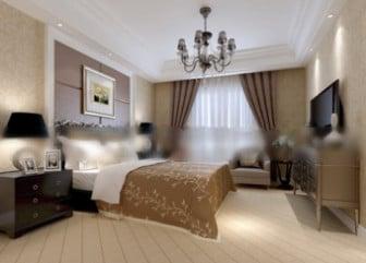 Hotel Double Bedroom Interior Scene