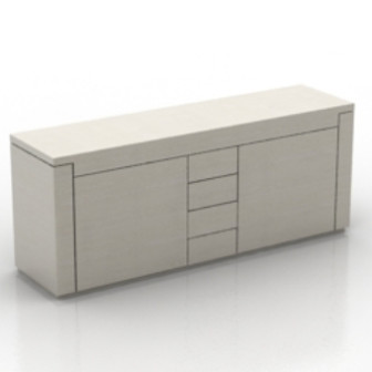White Fashion Desk Furniture 3d Max Model Free