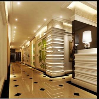 Sisämaisema moderni hotelli käytävällä