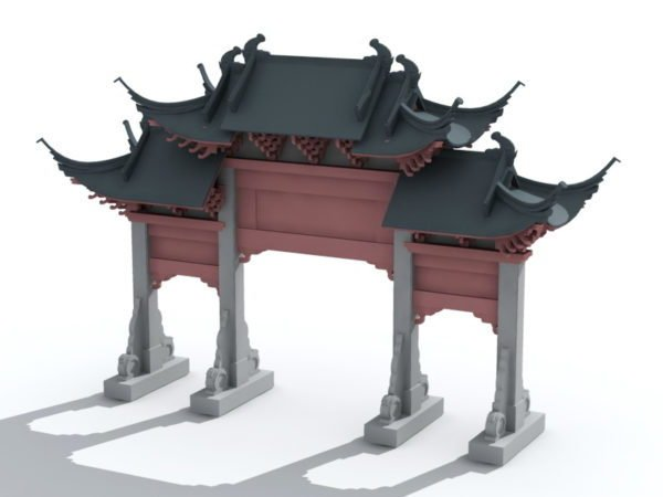 China Gate Free 3D Model ( Max) - Open3dModel