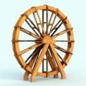 Roda de água de madeira velha