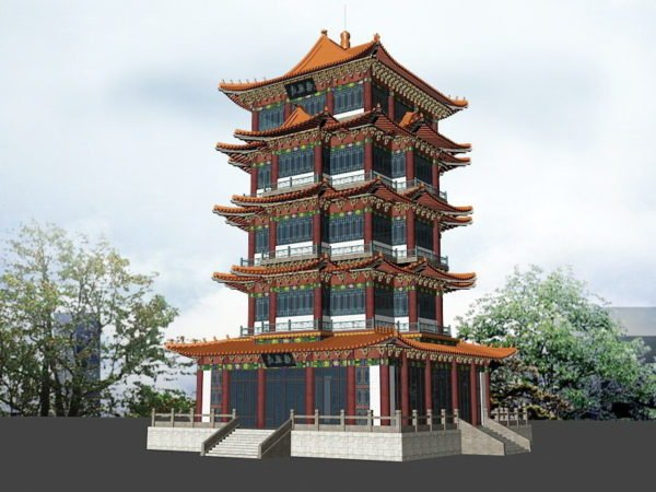 Ancient Chinese Pagoda Scene