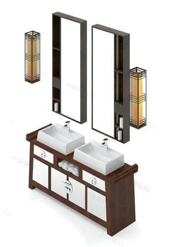 Mueble de tocador de baño de doble lavabo de lujo