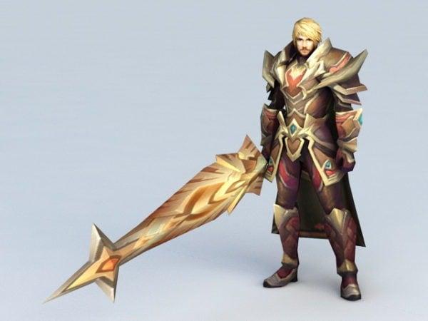 Guerrero masculino de anime con espada