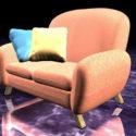 ピンク布張りソファチェア