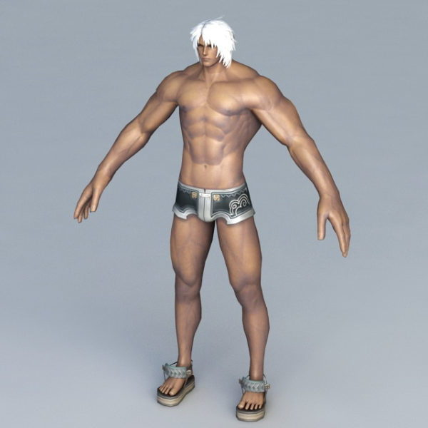 الرجل القوي مع ملابس السباحة