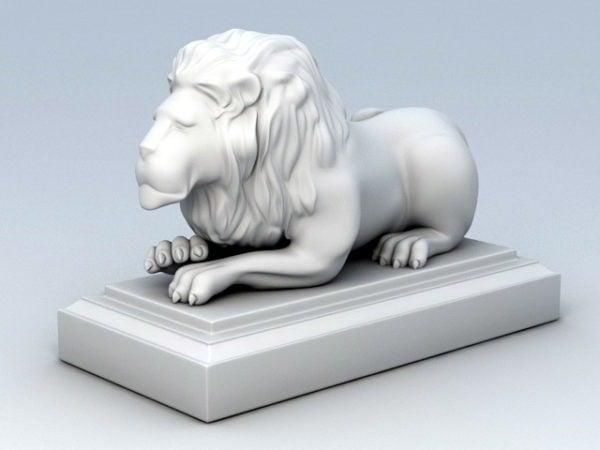 Colocación de la estatua del león