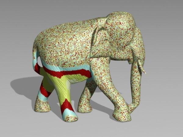 Colored Elephant Statue