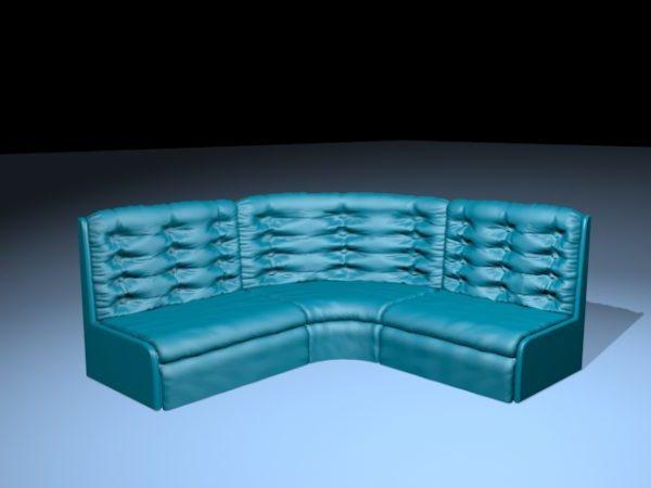 Blue Leather Corner Sofa
