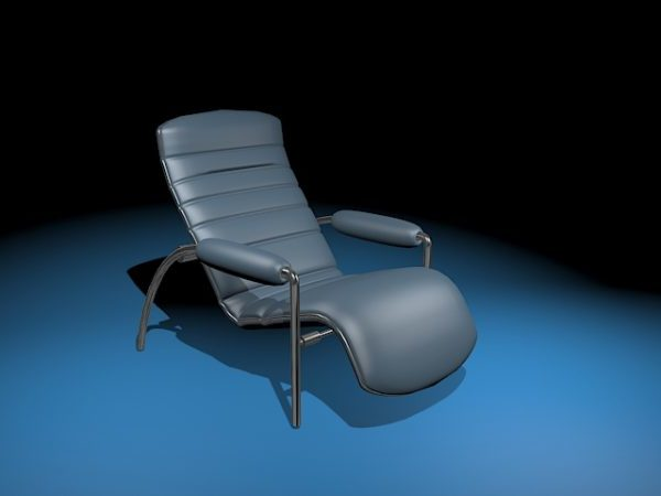 Blue Leather Reclining Lounge Chair