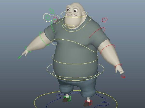 Fat Man sarjakuvahahmo Rigged