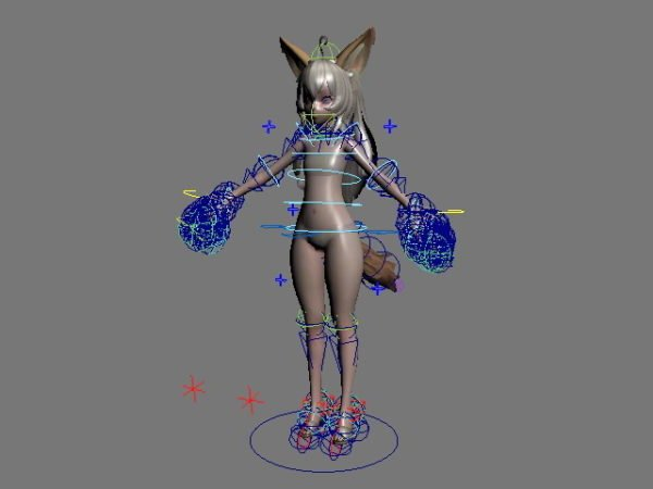 Anime Character Fox Girl Rigged