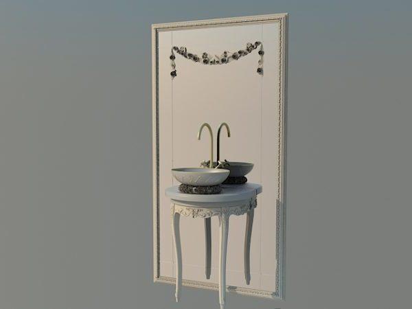 Antique Vanity With Sink Free 3D Model (Max) - Open3dModel