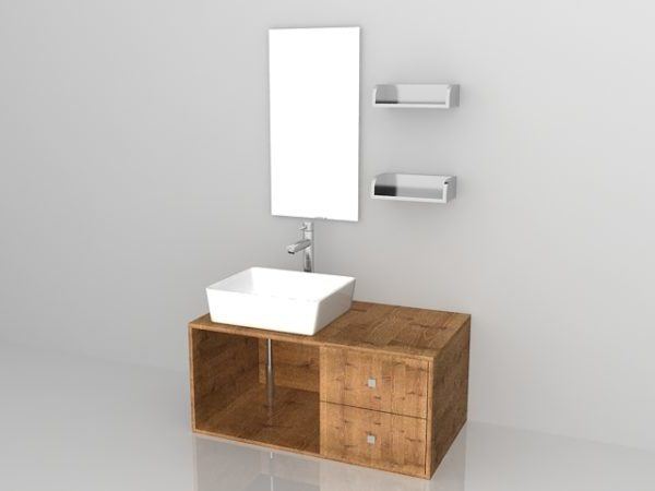 Conjunto de tocador de baño de madera