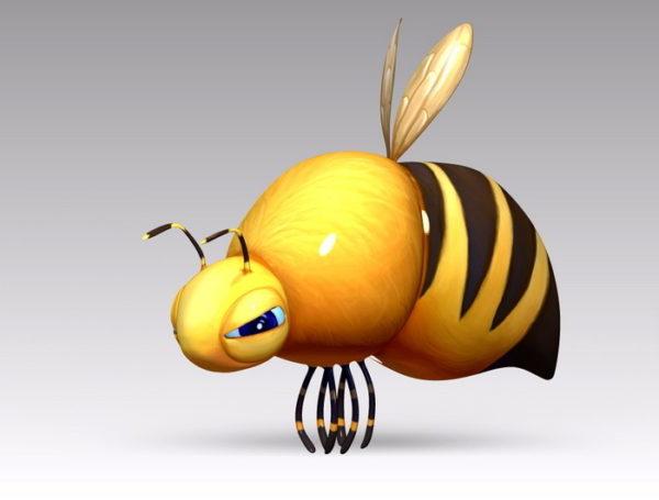 Personaje de dibujos animados de abeja gorda