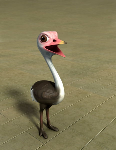 Lindo personaje de dibujos animados de avestruz