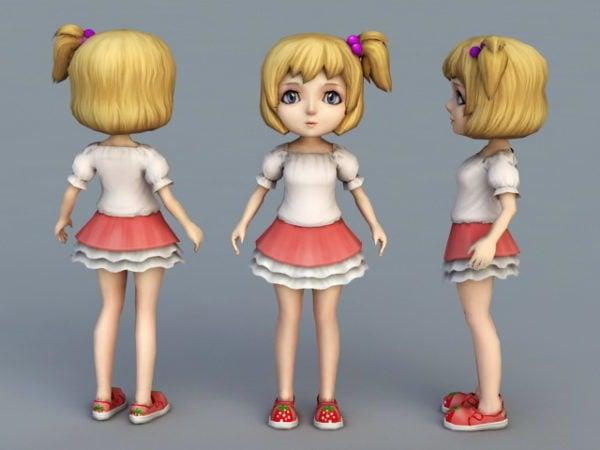Personaje de niña linda de dibujos animados