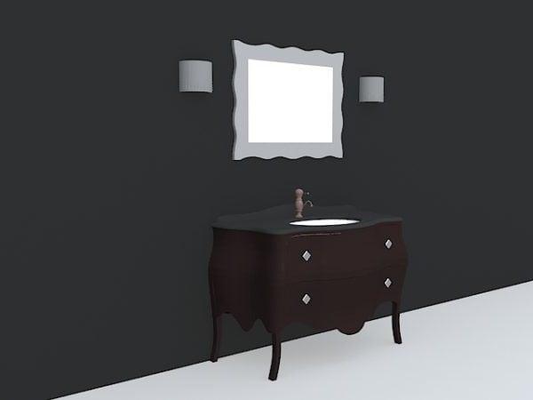 Vintage Bathroom Vanity With Mirror Free 3d Model 3ds Dwg