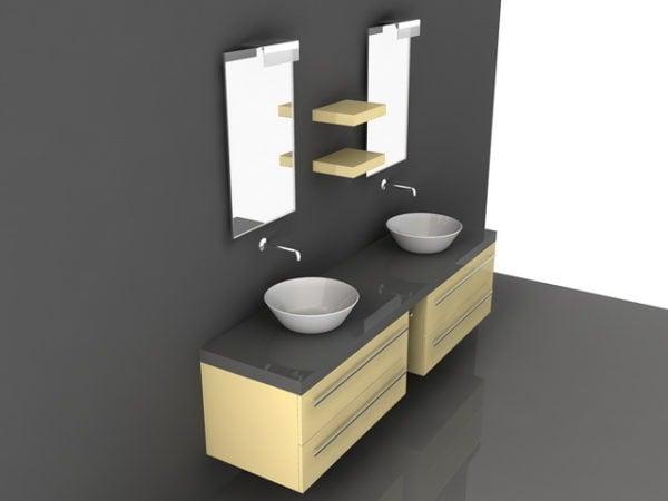 ダブルボウルシンクの洗面化粧台