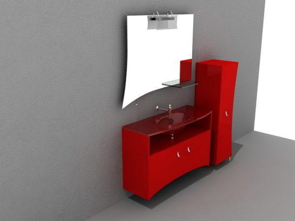 Vanite De Salle De Bain Rouge Avec Miroir Modele 3d Gratuit 3ds