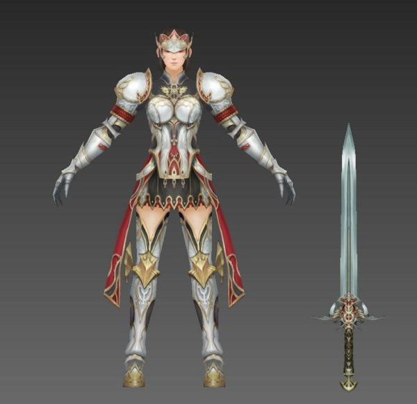 Medieval Female Knight Rigged