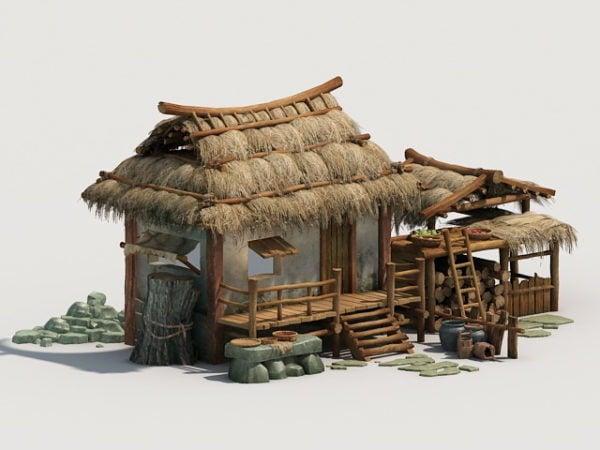 Cabaña de paja antigua