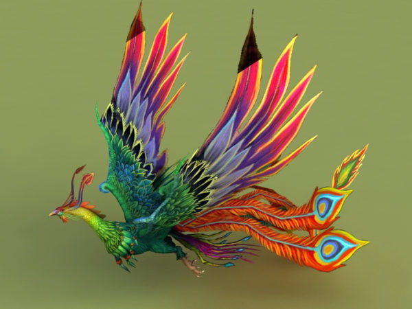 Rainbow Phoenix Animated & Rig