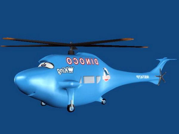 Helicóptero azul de dibujos animados