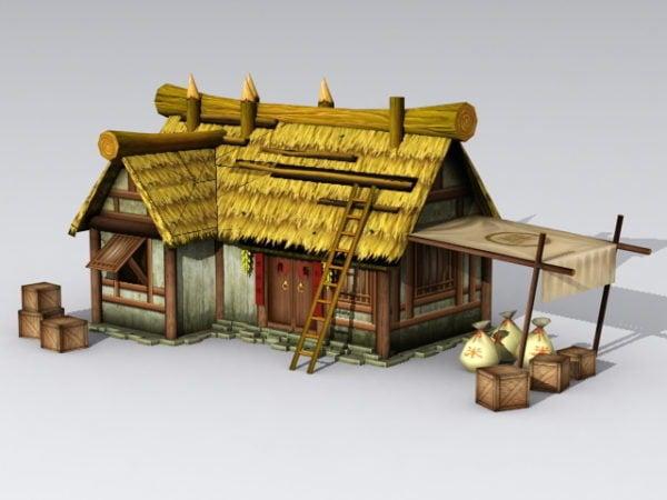 Antigua cabaña con techo de paja