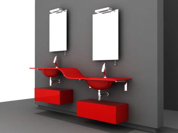Modern Red Bathroom Vanity Free 3d Model 3ds Dwg Max Open3dmodel 44813