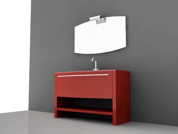 Red Bathroom Vanity Free Model