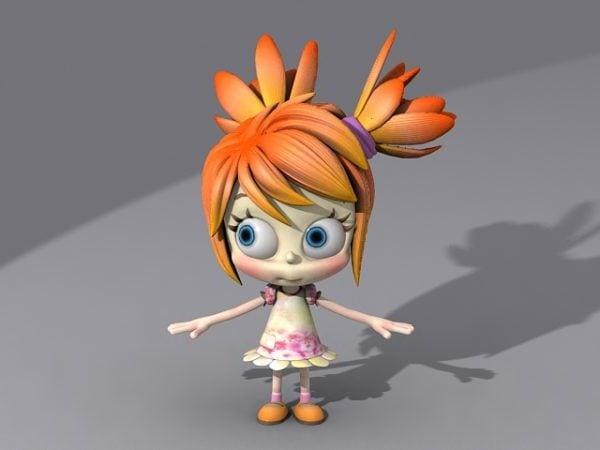 Linda niña de dibujos animados