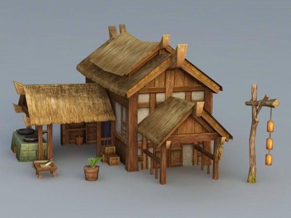 Antigua casa de paja de pueblo