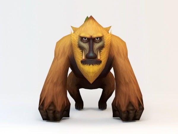 Cartoon Baboon Low Poly
