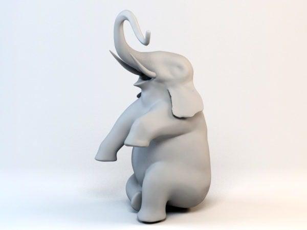 يجلس تمثال الفيل