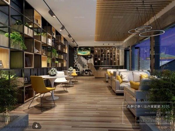 Coffee Shop With Modern Bookcase Interior Scene