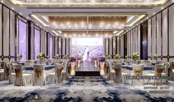 Violet Wedding Reception Restaurant Interior Scene