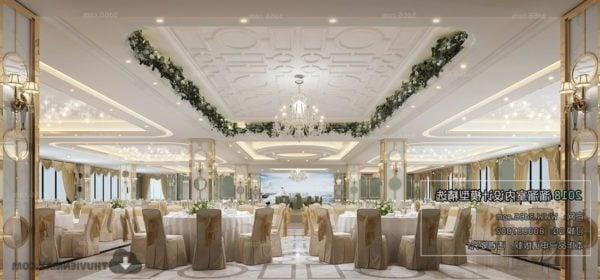 المشهد الداخلي لمطعم الزفاف الأبيض
