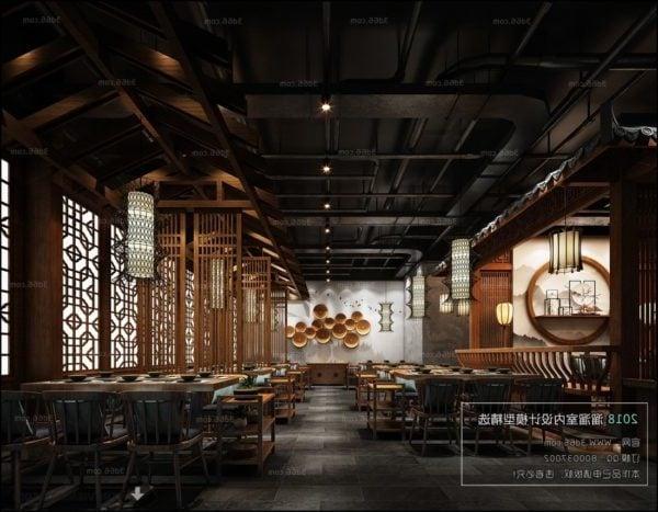 المشهد الداخلي لمطعم الشاي الصيني