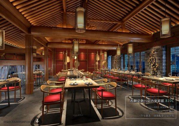 مشهد داخلي لمطعم فاخر على الطراز الخشبي