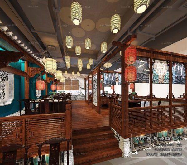 مشهد داخلي على الطراز الخشبي للمطعم الصيني