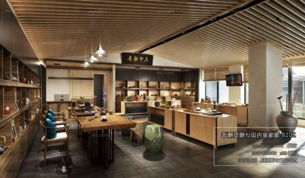 مشهد داخلي على طراز المطعم الياباني