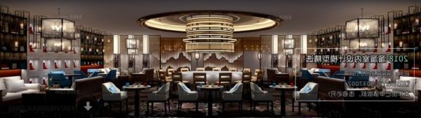 مطعم مع مشهد داخلي ثريا كبير